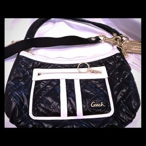 Coach Quilted Ski Bunny Black Nylon Shoulder Bag